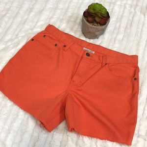 Vintage orange high waisted denim shorts
